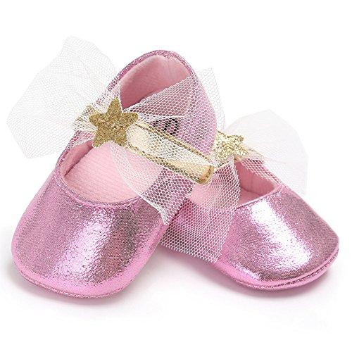 Juleya Zapatos antideslizantes suaves de la princesa Lace de los bebés recién nacidos Gold 12-18M rosado