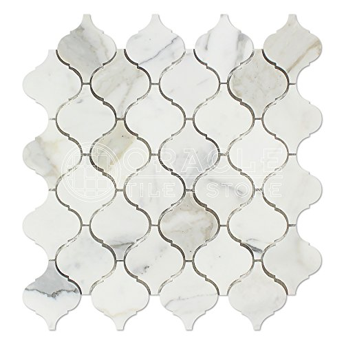 Calacatta Gold (Italian Calcutta) Marble Lantern Arabesque Mosaic Tile, Honed