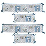 Bedtime Originals Peanuts Forever Snoopy 4 Piece Crib Bumper, Blue/Gray