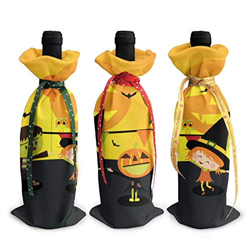 NBteach Happy Kids in Halloween Costumes 3pcs Christmas Xmas Red Wine Glass Bottle Wraps Cover Bag Decorations Ornaments Theme Tasting Charms Accessories Gifts -