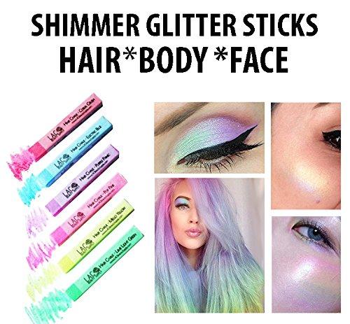Body Glitter Sticks For Hair, Eyes, Face, Body, Celestial Holographic Glow Shimmer Set of 6 Colors, Unicorn Rainbow Festival Palette