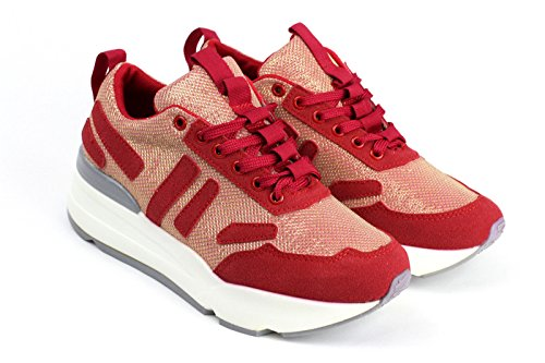 Damen Mode Schnürer Turnschuhe Komfort Flache Schuhe Sneakers Fitnessstudio Pumps UK Größe - Rot, 36