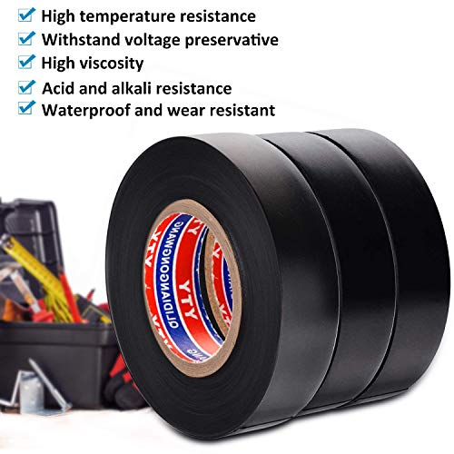(Electrical Insulation Tape PVC Insulating Tape Black 0.75IN 65FT 3 Roll)