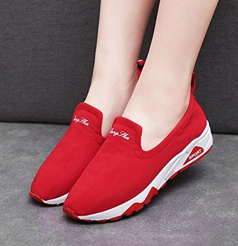 ROSEUNION Damen Klassisch Slipper Canvas Mode Turnschuhe Sportschuhe Mädchen Laufschuhe Stiefel Freizeitschuhe Rot