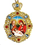 Jeweled Crown Nativity Scene Holy Family Icon Pendant Religious Christmas Ornament 5 Inch