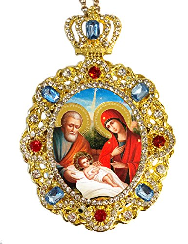 Jeweled Crown Nativity Scene Holy Family Icon Pendant Religious Christmas Ornament 5 Inch by Religious Gifts