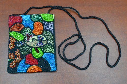 Black Sequin Beads Button Pouch Jewelry Purse Beads And Sequins Pouch