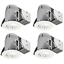 """Globe Electric 3"""" LED IC Rated Swivel Spotlight Recessed Lighting Kit Dimmable Downlight, Contractor's (4-Pack), 4x GU10 LED Bulbs Included, White Finish, Easy Install Push-N-Click Clips, Globe Electric 90718"""