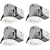 "3"" LED IC Rated Swivel Spotlight Recessed Lighting Kit Dimmable Downlight, (4-Pack), White Finish, Easy Install Push-N-Click Clips, 4x GU10 LED Bulbs Included, Globe Electric 90718"