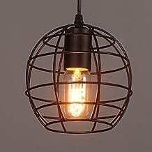 E27 Lights Ball Cage Style Edison Pendant Ceiling Light Loft Chandelier,Rustic DIY Metal Hanging Ceiling Light for Kitchen Bar Bedroom Decor