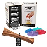 Masontops Deluxe Mason Jar Fermentation Tool Set - Glass Weights, Vegetable Tamper and Silicone Airlocks - Regular Mouth