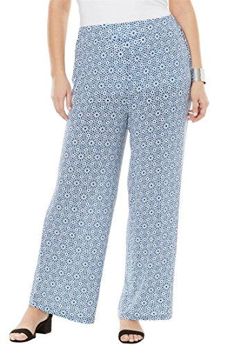 Palazzo Medallion (Jessica London Women's Plus Size Palazzo Pants Dark Cobalt Medallion,26/28)