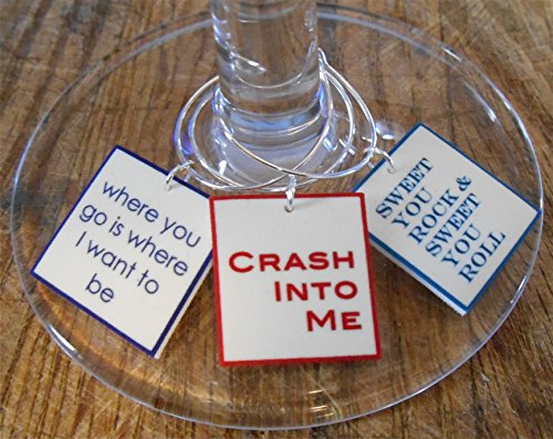 FortySevenGems Set of 12 Dave Matthews Band Song Lyrics Collection Wine Charms Mailed in a Cool Gift Tin