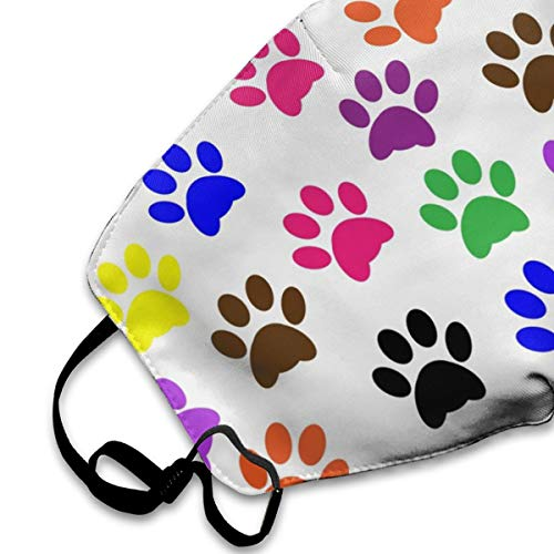 Colorful Paw Prints Flu Dust Masks Reusable Cotton Breathable Safety Respirator for Outdoor Cycling Face Earloop Masks Dust Pollen Flu Germs Allergens Masks