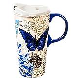 Cypress Home Blue Floral Study Ceramic Travel Coffee Mug, 17 ounces