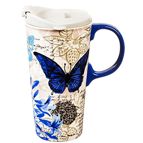 - Blue Floral Study 17 OZ Ceramic Travel Cup - 4 x 5 x 7 Inches