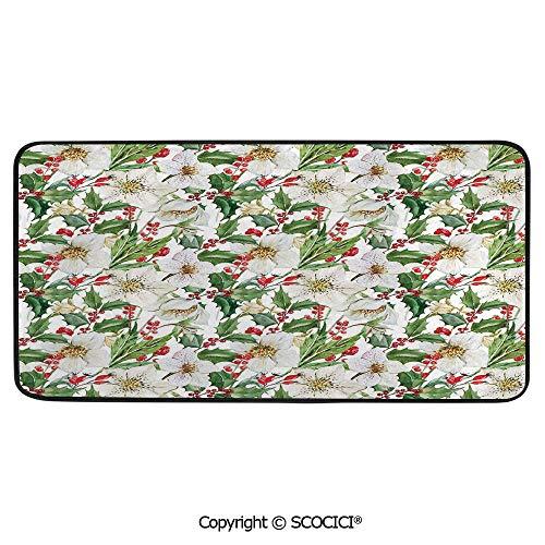 - Print Door Mat, Indoor Floor Area Carpet Compatible Bedroom,Living Room,Children, Playroom, Bathroom,Watercolor,Christmas Themed Floral Poinsettia Winter Inspirations,39