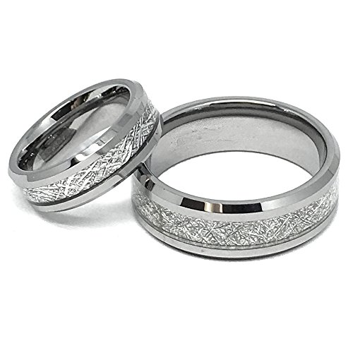 His & Hers - 8MM/6MM Tungsten Carbide Beveled Edge with Meteorite Center (Tungsten Carbide Beveled)