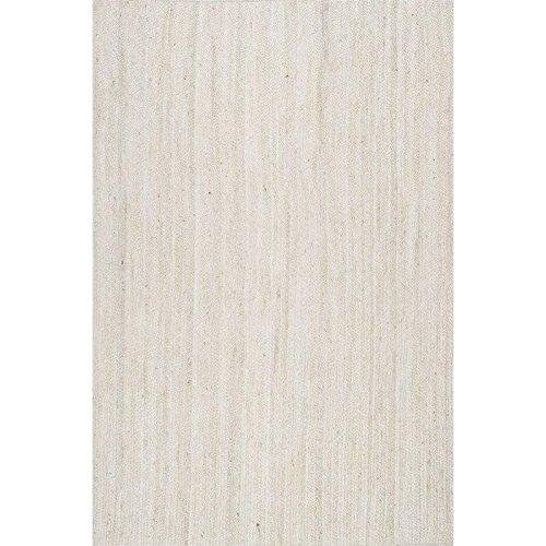 Nuloom 3' x 5' Hand Woven Rigo Jute Rug in White - Hand Woven 100% Jute
