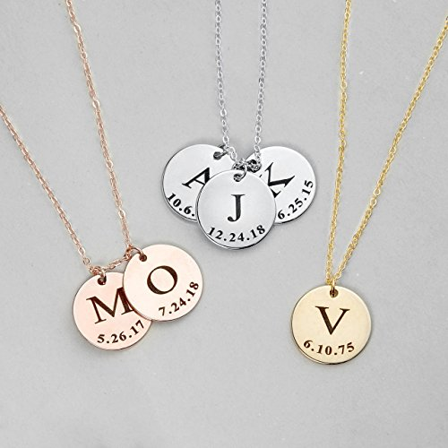 SAME DAY SHIPPING before 12pm Graduation Gift Initial Disc Necklace Coin Children Gift Personalized Initial Jewelry - (Initial Disc Necklace)