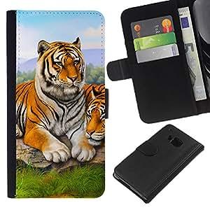 Planetar® Modelo colorido cuero carpeta tirón caso cubierta piel Holster Funda protección Para HTC One M7 ( Tigre lindo pintura de la naturaleza animal de África )