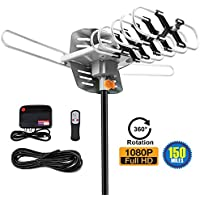 Amplified TV Antenna -Outdoor Digital HDTV Antenna 150 Mile Motorized 360 Degree Rotation,Wireless Remote, 33FT Coaxial Cable FM/VHF/UHF Channels(Without Pole),4K Ready