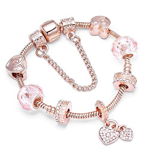 Tea language Vintage Cryatal Beads Charm Bracelet Female Rose Gold Snake Chain Fine Bracelet for Women Jewelry,YF010,19cm ()