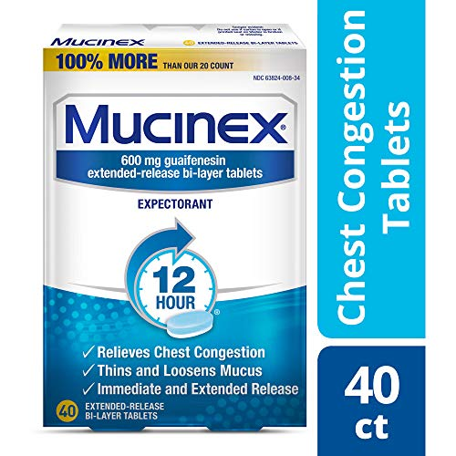 Chest Congestion, Mucinex 12 Hour Extended Release Tablets, 40ct, 600 mg Guaifenesin with extended relief of  chest congestion caused by excess mucus, thins and loosens mucus (Coughing Up Clear Phlegm All The Time)