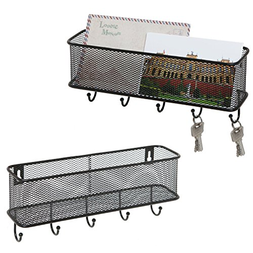 Modern Black Wall Mounted 5 Key Hook Rack with Metal Wire Mesh Mail Basket, Set of 2
