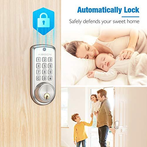 Aibocn Smart Lock, Push Button Keypad Door Lock, Keyless Entry Door Lock with Auto-Lock, Electronic Deadbolt Lock, 10 Customizable User Codes, Easy to Install and Program, Security Smart Door Lock for Room
