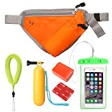 Waterproof Action Camera Accessories Set Floating Wrist Strap Sport Carry Waist Pack Cell Phone Waterproof Bag Floater Handle Grip (5 Items)