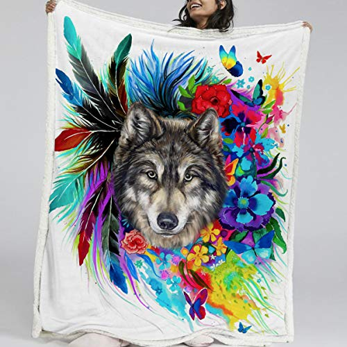 BlessLiving Boho Wolf Blanket Watercolor Wolf with Colorful Flowers Pattern Sherpa Fleece Blanket Fluffy Bed Blanket for Teens Boys (Throw, 50 x 60 - Beds Flower Colorful