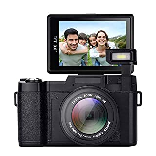 GordVE Digital Camera,24.0 MP 3.0 Inch 180°Rotating Screen Camera Vlogging Camera Digital Zoom Camera Video with Flash Light HD 1080P
