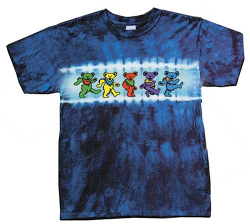 Grateful Dead Youth Size DANCING BEARS Tie Dye Kids T-shirt Tee Shirt, Large (14-16)