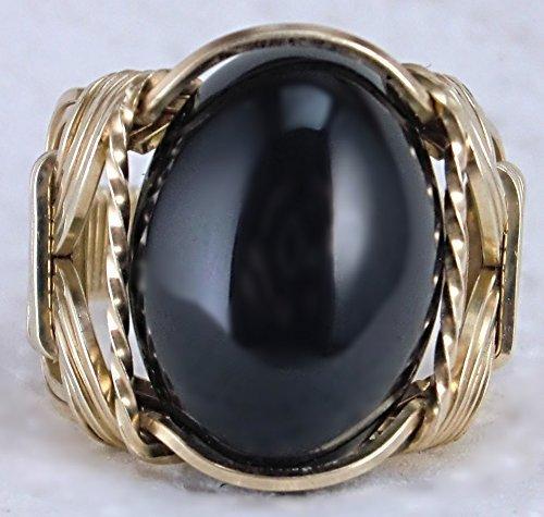(Black Onyx Gemstone Ring Mens Ladies Unisex 14k Gold Filled or Sterling Silver)