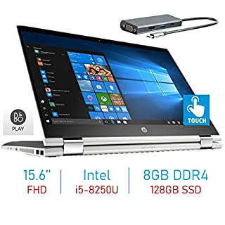 HP X360 15.6-inch 2-in-1 Touchscreen FHD IPS WLED-Backlit Display Laptop PC, 8th Gen Quad-Core Intel i5-8250U (>i7-7500U), 8GB DDR4 RAM, 128GB SSD, WiFi, Bluetooth, Webcam, Windows 10 w/Type-C Hub