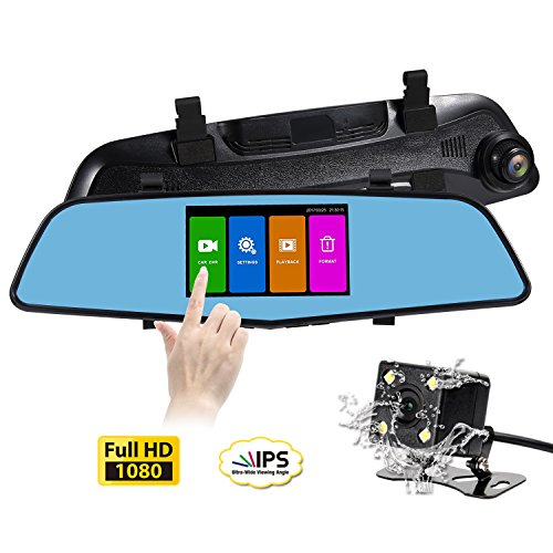 (SENDOW Mirror Dash Camera 4.5 inch IPS Touch Screen FHD 6G Lens Mirror Rearview Camera Dual Back Car Dashboard Cam DVR Parking Monitor G-Sensor Loop Recording)