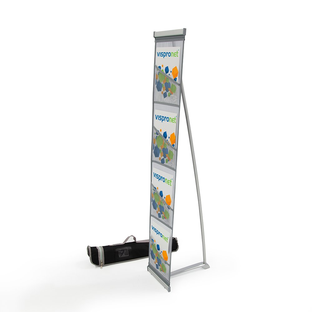 Mesh Magazine Stand - Roll Out Brochure Holder 4 Pockets - Portable Literature Display