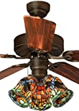 Tiffany Street 269540066 Dragonfly 3-Light Stained Glass Bronze Ceiling Fan