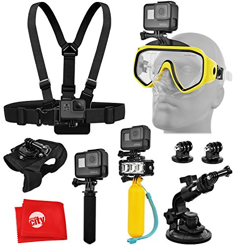 Accessory Bundle for GoPro HERO5 Black/Session 4K Action Camera w/Scuba Diving Mask, Waterproof LED Light, HandGrip, Floating Handle, Chest Strap, Wrist/Glove Mount, Tripod Adapter, Car Suction Cup