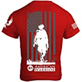 American Warrior Mens Down Range T-Shirt - Made in the USA - Support Veteran Charity Large Red