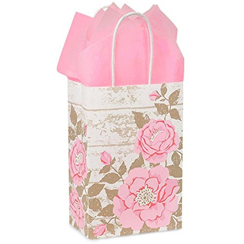 Cottage Rose Garden Paper Shopping Bags - Rose Size - 5 1/2 x 3 1/4 x 8 3/8in. - 150 Pack by NW