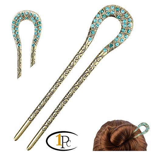 FINGER LOVE Fashion Vintage Design Alloy Hair Pins Stick Fork Hairpin (B Blue)