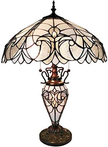 Amora Lighting Tiffany Style Table Lamp Banker Base 23 Tall Stained Glass White Grey Mahogany Elegant Vintage Light D cor Living Room Bedroom Office Handmade Gift AM203TL18B