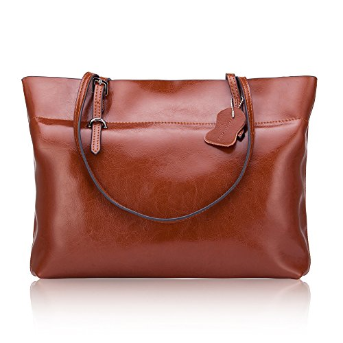 Vintage Oil Wax Genuine Leather Shopping Bag Handle Shoulder Bag Single Shoulder Bag for Ladies ()
