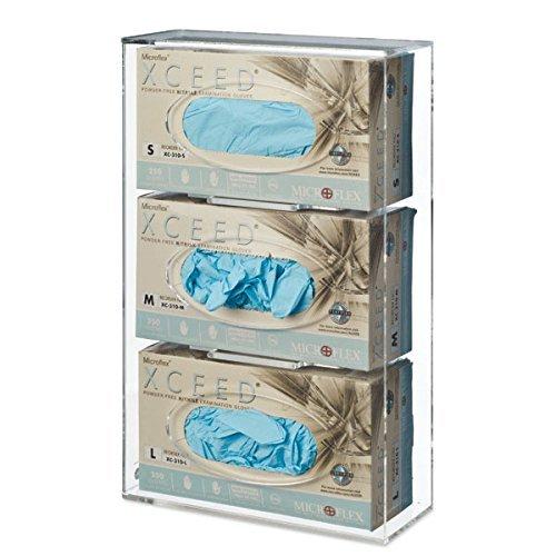 (Triple Side-Loading Glove Box Dispenser Holder, Clear Acrylic)