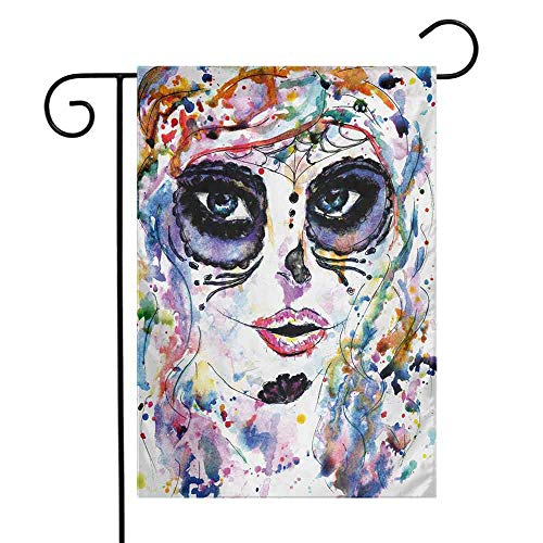 Sugar Skull Garden Flag Halloween Girl with Sugar Skull Makeup Watercolor Painting Style Creepy Look Decorative Flags for Garden Yard Lawn W12 x L18 Multicolor -