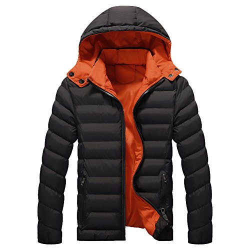 Coat Down Hooded Jacket Padded for Urban Warm Jacket Hiking Jacket Puffa Camping Black Men's BwqUCz