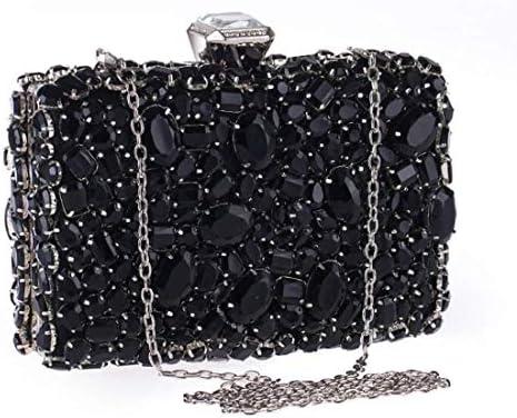アクリルダイヤモンドイブニングクロスボディバッグ、クラッチバッグ、バンケットトート、ワンショルダーウォレット、(カラー:ブラック)プレミアムハードウェア 美しいファッション