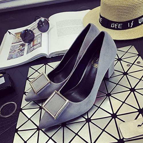 Yukun zapatos de tacón alto Tacones Altos Negros Femeninos Gruesos con La Boca Poco Profunda Zapatos De Mujer Código Rojo del Tamaño, 38, Rojo Gray